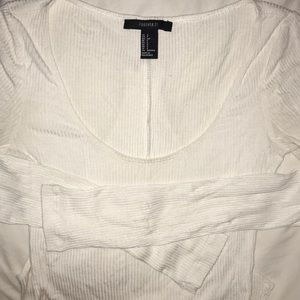 Forever 21 ribbed white long sleeved body suit